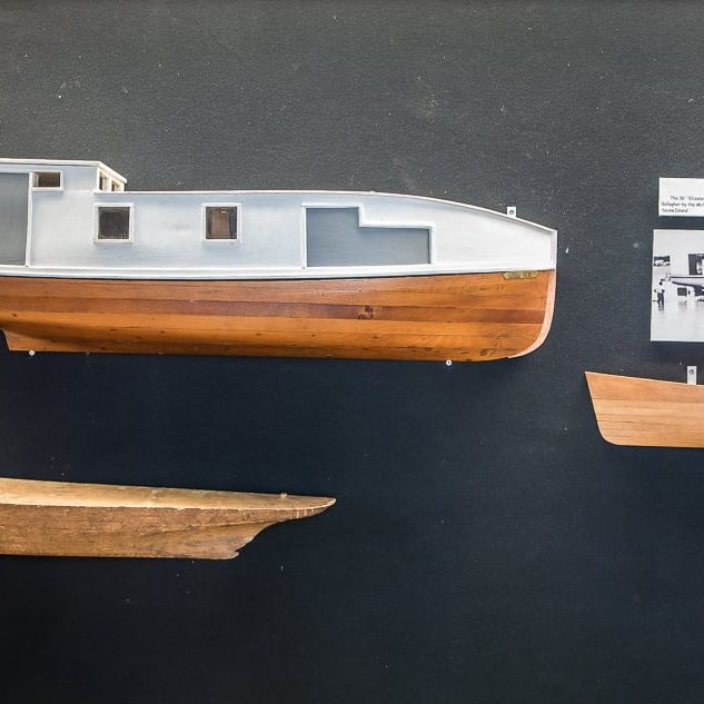 Commercial Fishing Half models on display.  The half hulls were constructed by ship builders and were exact scale replicas of the actual ship's hull