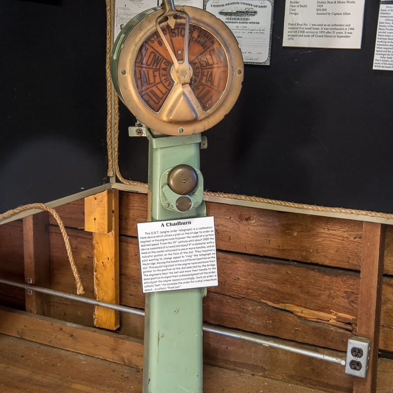 A Chadburn on display in the Marine Museum. A Chadburn, also know as an Engine Order Telegraph was used by the ship pilot on the bridge to signal the engineers below deck to move the ship handles to move to the same position.